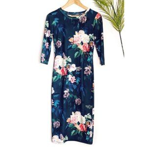 Topshop Dark Floral Long Sleeve Fitted Dress